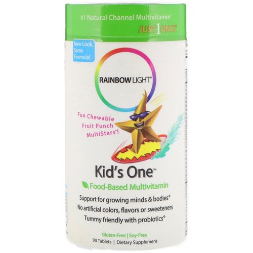 Rainbow Light, Kid's One, MultiStars, Food-Based Multivitamin, Fruit Punch, 90 Tablets Review