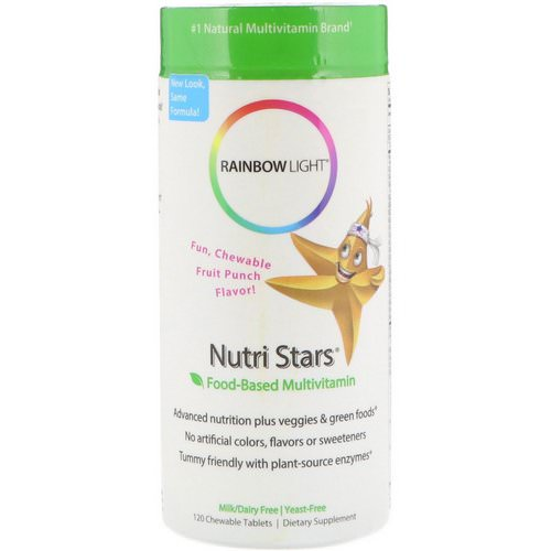 Rainbow Light, Nutri Stars, Food-Based Multivitamin, Fruit Punch Flavor, 120 Chewable Tablets Review