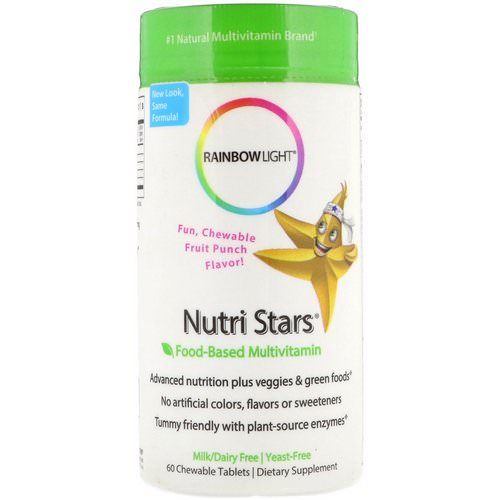 Rainbow Light, Nutri Stars, Food-Based Multivitamin, Fruit Punch Flavor, 60 Chewable Tablets Review
