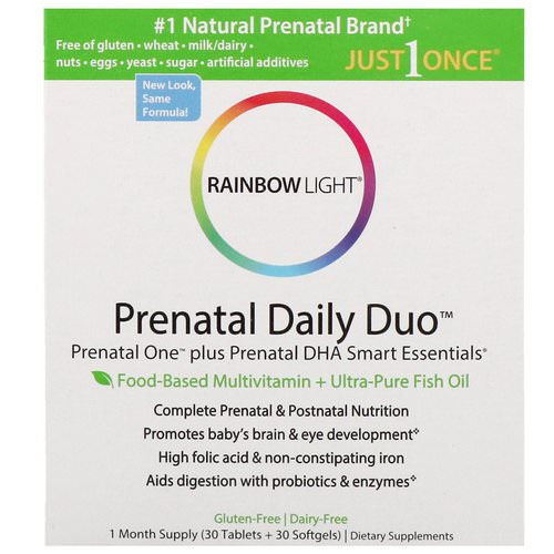 Rainbow Light, Prenatal Daily Duo, Prenatal One plus Prenatal DHA Smart Essentials, 1 Month Supply (30 Tablets + 30 Softgels) Review