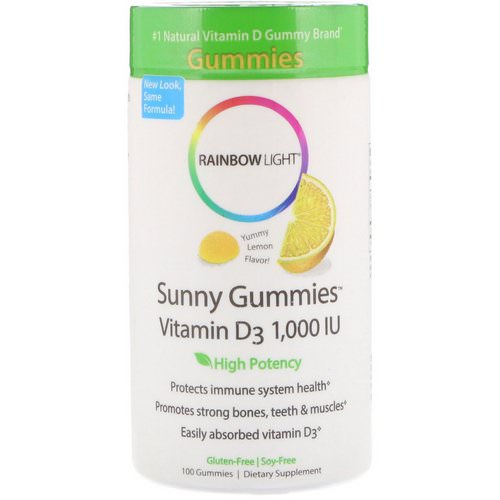Rainbow Light, Sunny Gummies Vitamin D3, Lemon Flavor, 1,000 IU, 100 Gummies Review