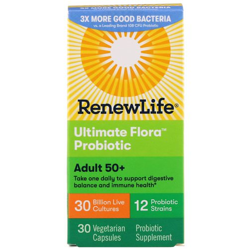 Renew Life, Adult 50+ Ultimate Flora Probiotic, 30 Billion Live Cultures, 30 Vegetable Capsules Review