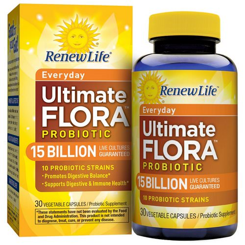 Renew Life, Everyday, Ultimate Flora Probiotic, 15 Billion Live Cultures, 30 Vegetable Capsules Review