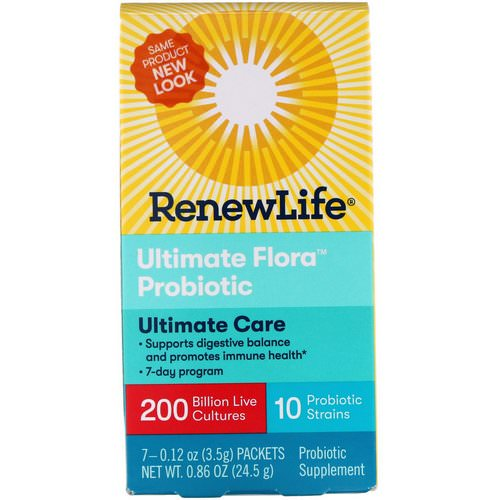 Renew Life, Ultimate Care, Ultimate Flora Probiotic, 200 Billion Live Cultures, 7 Packets, 0.86 oz (24.5 g) Review