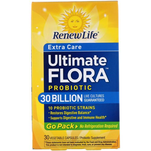 Renew Life, Extra Care, Ultimate Flora Probiotic, 30 Billion Live Cultures, 30 Vegetable Capsules Review