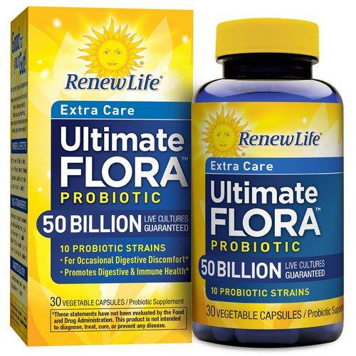 Renew Life, Extra Care, Ultimate Flora Probiotic, 50 Billion Live Cultures, 30 Vegetable Capsules Review