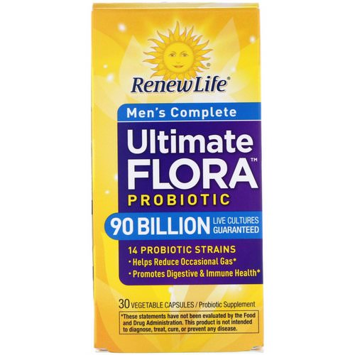 Renew Life, Men's Complete, Ultimate Flora Probiotic, 90 Billion Live Cultures, 30 Vegetable Capsules Review