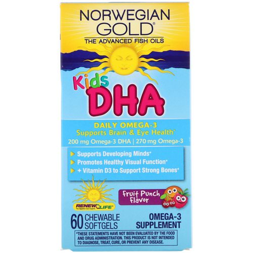 Renew Life, Norwegian Gold, Kids DHA, Fruit Punch Flavor, 60 Chewable Softgels Review