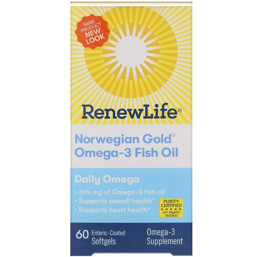 Renew Life, Norwegian Gold Omega-3 Fish Oil, Daily Omega, 60 Enteric-Coated Softgels Review