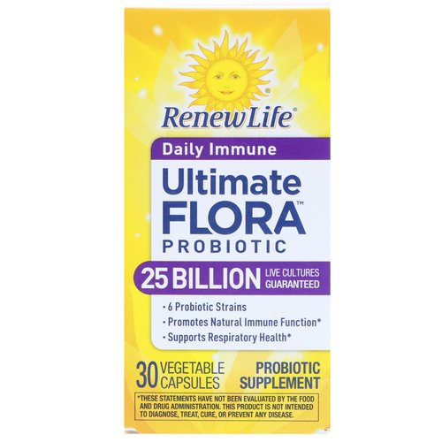 Renew Life, Ultimate Flora Probiotic, Daily Immune, 25 Billion Live Cultures, 30 Vegetable Capsules Review