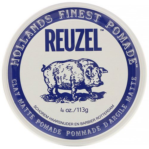 Reuzel, Clay Matte Pomade, Water Soluble, Medium Hold, 4 oz (113 g) Review