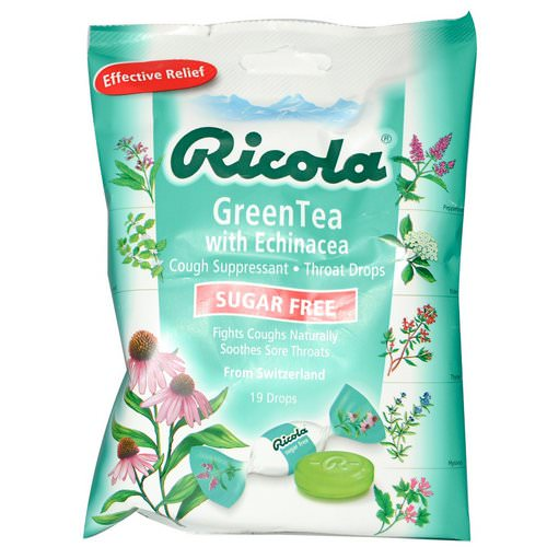 Ricola, Green Tea with Echinacea, Sugar Free, 19 Drops Review