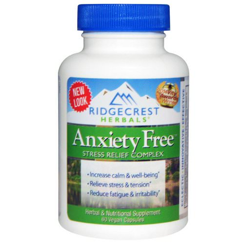 RidgeCrest Herbals, Anxiety Free, Stress Relief Complex, 60 Vegan Caps Review