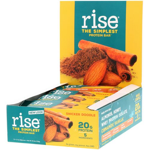 Rise Bar, Protein Bar, Snicker Doodle, 12 Bars, 2.1 oz (60 g) Each Review