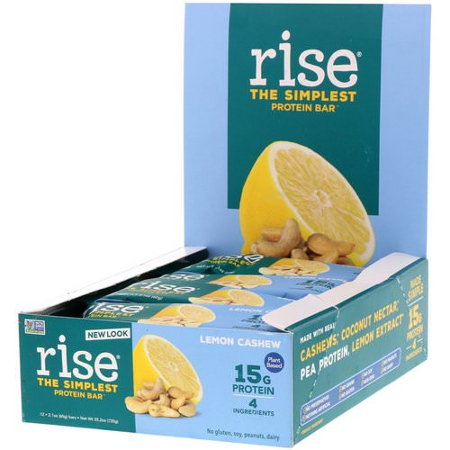 Rise Bar, The Simplest Protein Bar, Lemon Cashew, 12 Bars, 2.1 oz (60 g) Each Review