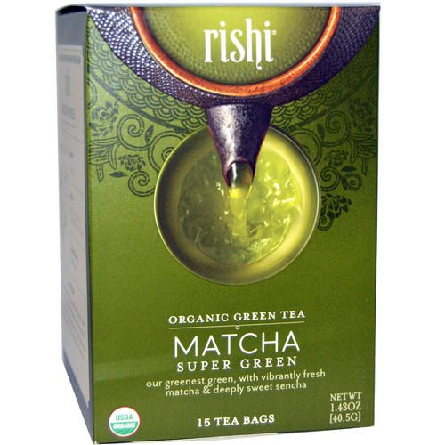 Rishi Tea, Organic Green Tea, Matcha Super Green, 15 Tea Bags 1.43 oz (40.5 g) Review