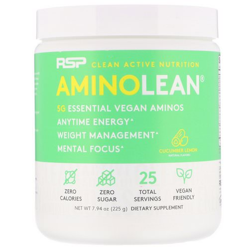 RSP Nutrition, AminoLean, Vegan Aminos, Cucumber Lemon, 7.94 oz (225 g) Review