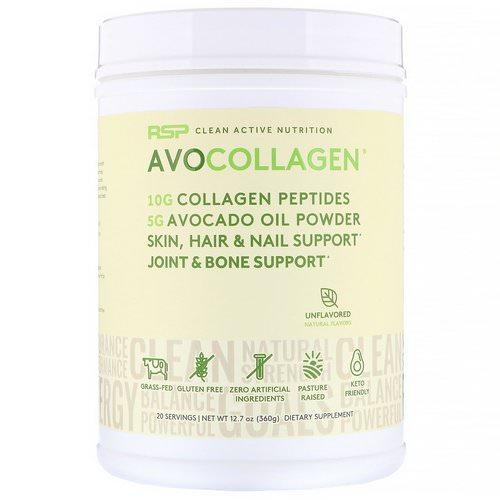 RSP Nutrition, AvoCollagen, Collagen Peptides & Avocado Oil Powder, Unflavored, 12.7 oz (360 g) Review