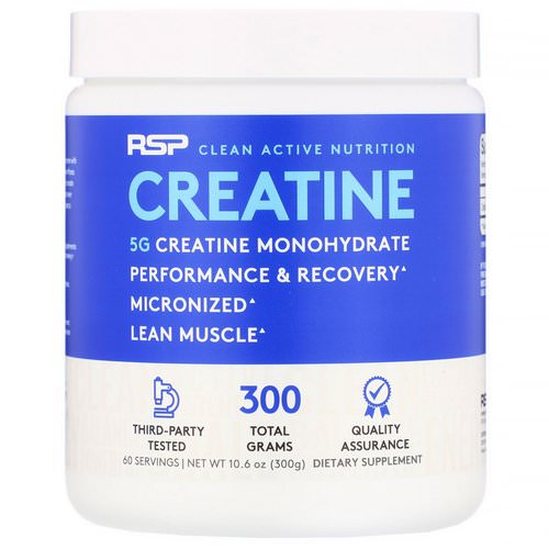 RSP Nutrition, Creatine Monohydrate, Micronized Creatine Powder, 10.6 oz (300 g) Review