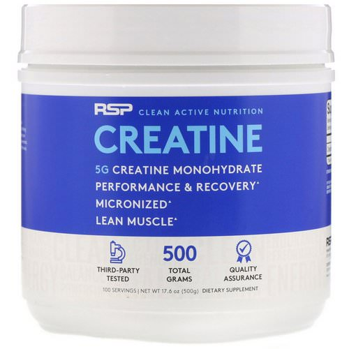 RSP Nutrition, Creatine Monohydrate, Micronized Creatine Powder, 5 g, 17.6 oz (500 g) Review