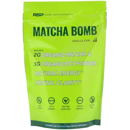 RSP Nutrition, Matcha Bomb, Vanilla Chai, 5.3 oz (150 g) Review