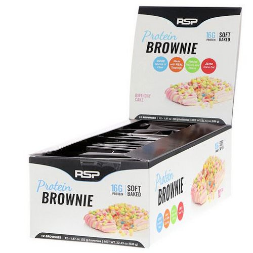 RSP Nutrition, Protein Brownie, Birthday Cake, 12 Brownies, 1.87 oz (53 g) Each Review
