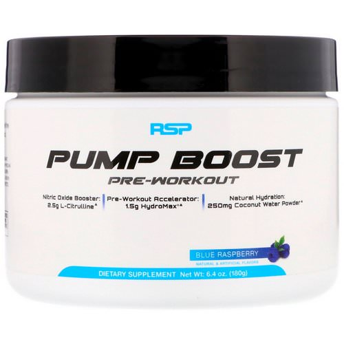 RSP Nutrition, Pump Boost Pre-Workout, Blue Raspberry, 6.4 oz (180 g) Review