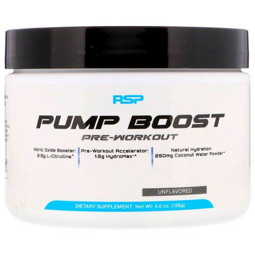 RSP Nutrition, Pump Boost Pre-Workout, Unflavored, 4.8 oz (138 g) Review