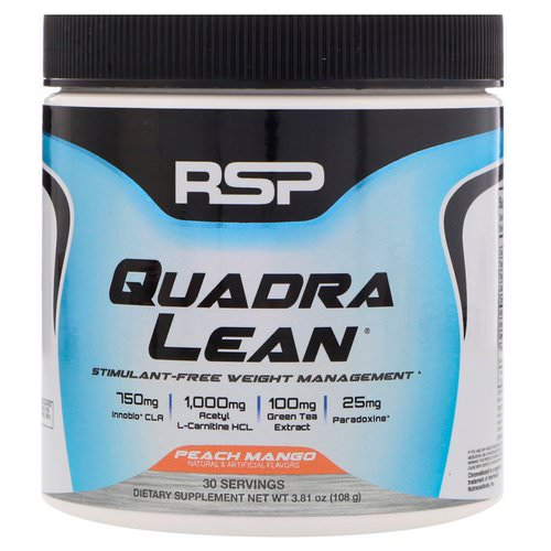 RSP Nutrition, Quadra Lean, Stimulant-Free Weight Management, Peach Mango, 3.81 oz (108 g) Review