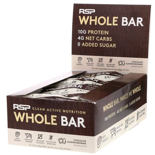 RSP Nutrition, Whole Bar, Chocolate Almond Brownie, 12 Bars, 1.76 oz (50 g) Each Review