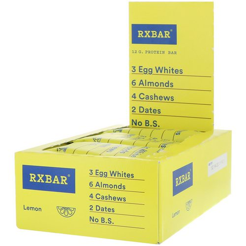RXBAR, Protein Bar, Lemon, 12 Bars, 1.83 oz (52 g) Each Review
