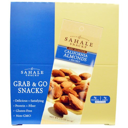 Sahale Snacks, Dry Roasted, California Almonds + Sea Salt, 9 Packs, 1.5 oz (42.5 g) Each Review
