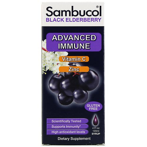 Sambucol, Black Elderberry Syrup, Advanced Immune, Vitamin C + Zinc, Natural Berry, 4 fl oz (120 ml) Review