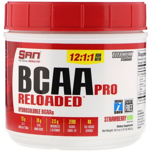 SAN Nutrition, BCAA Pro Reloaded, Strawberry Kiwi, 16.2 oz (458.8 g) Review