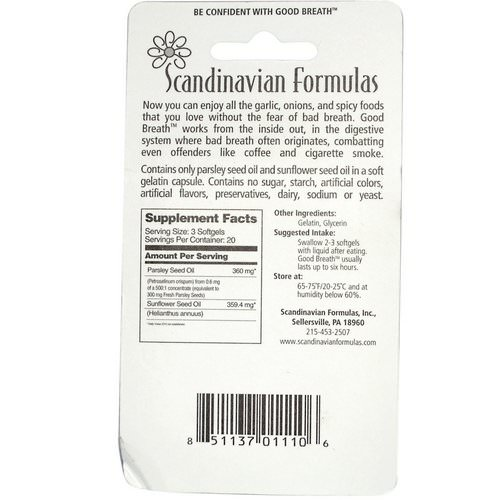 Scandinavian Formulas, Good Breath, 60 Softgels Review
