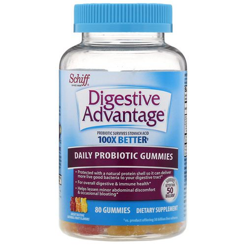 Schiff, Digestive Advantage, Daily Probiotic Gummies, Natural Fruit Flavors, 80 Gummies Review