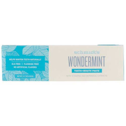 Schmidt's Naturals, Tooth + Mouth Paste, Wondermint, 4.7 oz (133 g) Review