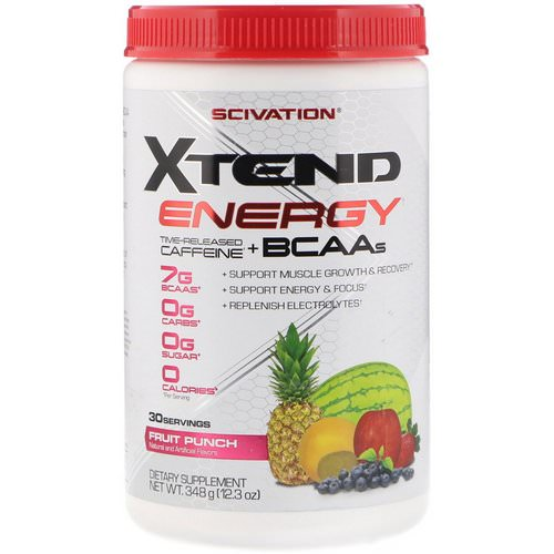 Scivation, Xtend Energy, Time Released Caffeine + BCAAs, Fruit Punch, 12.3 oz (348 g) Review