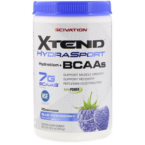 Scivation, Xtend HydraSport, Hydration + BCAAs, Blue Raspberry, 12.2 oz (345 g) Review