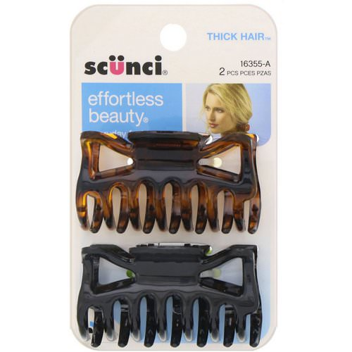 Scunci, Effortless Beauty, Jaw Clips for Thick Hair, 2 Pieces Review