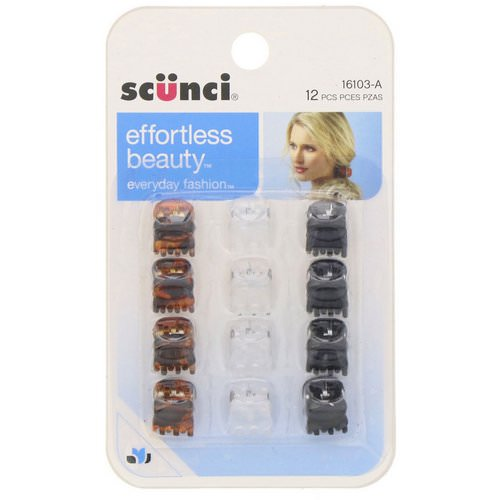 Scunci, Effortless Beauty, Mini Jaw Clips, Assorted Colors, 12 Pieces Review