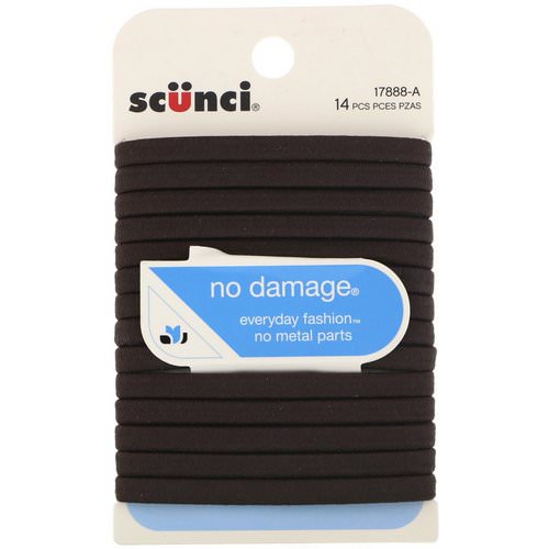 Scunci, No Damage Elastics, Brown, 14 Pieces Review