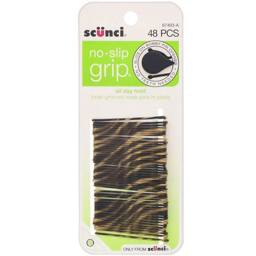 Scunci, No Slip Grip, All Day Hold, Bobby Pins, Striped, 48 Pieces Review