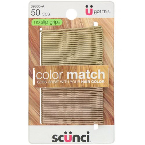 Scunci, No Slip Grip, Color Match Bobby Pins, Blonde, 50 Pieces Review