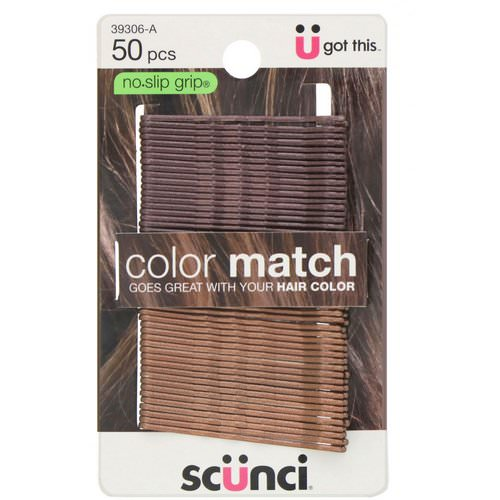 Scunci, No Slip Grip, Color Match Bobby Pins, Brunette, 50 Pieces Review