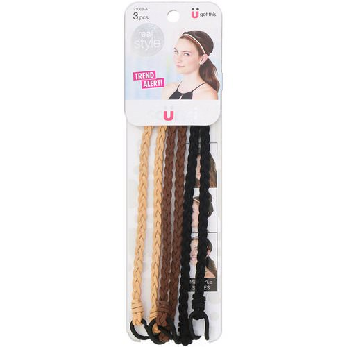 Scunci, Real Style, Suede Braided Headwraps, Neutral, 3 Pieces Review
