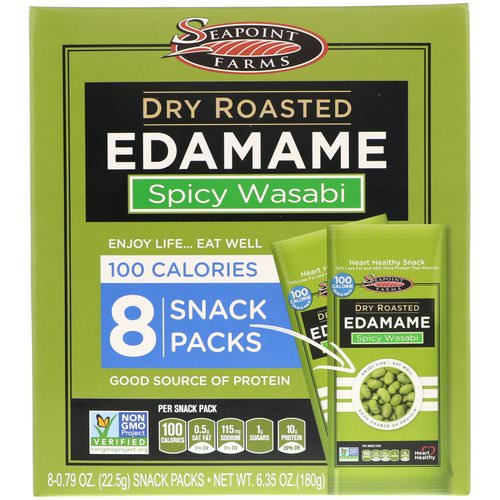Seapoint Farms, Dry Roasted Edamame, Spicy Wasabi, 8 Snack Packs, 0.79 oz (22.5 g) Each Review