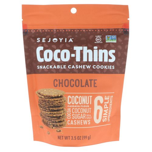 Sejoyia, Coco-Thins, Snackable Cashew Cookies, Chocolate, 3.5 oz (99 g) Review