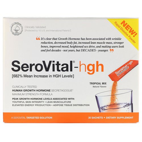SeroVital, HGH, Rapid Dissolve Powder, Tropical Mix, 30 Sachets, 4 g Each Review