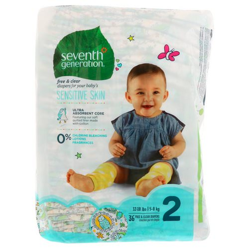 Seventh Generation, Baby, Free & Clear Diapers, Size 2, 12-18 Pounds (5-8 kg), 36 Diapers Review
